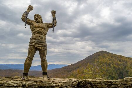 Statue of Unbound Prometheus with Broken Chain on the Eagle Rocks in Sochi