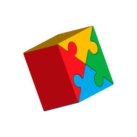 Jigsaw puzzle blank vector 2x2, four pieces