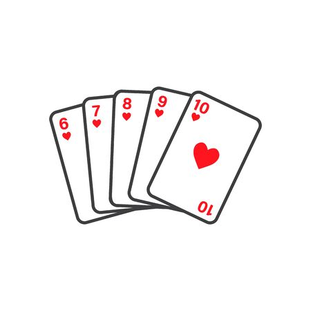 Straight Flush of Hearts from Six to Ten -vector playing cards isolated on white background
