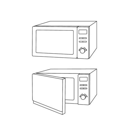Microwave oven modern icon, open and closed, isolated on white background