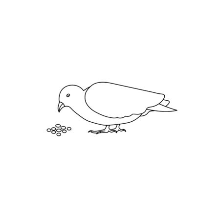 Outline pigeon dove bird eating icon vector isolated on white background 向量圖像