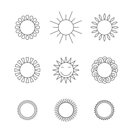 Outline suns icon vector set