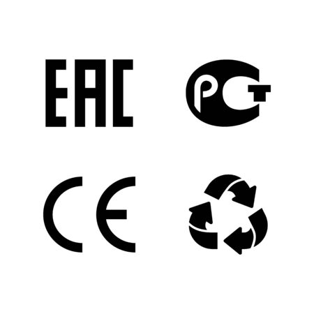 Eco-label vector signs of compliance and quality on the package.
