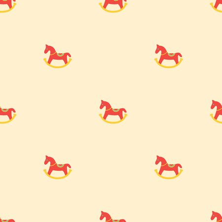 Colored toy rocking horse icon seamless pattern
