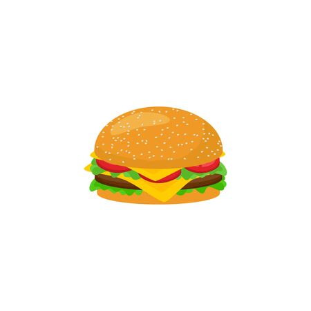 Colored hamburger fastfood icon vector isolated on white background