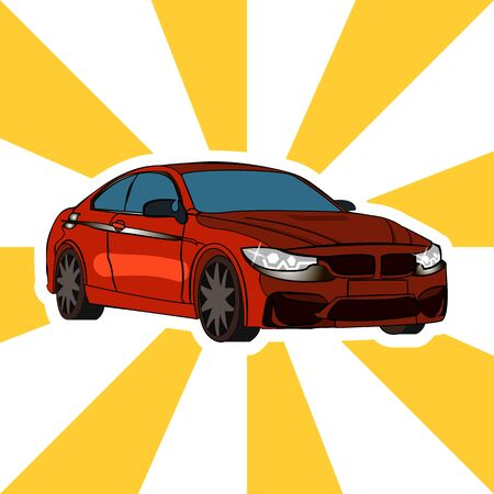 Red expensive car pop art style vector illustration
