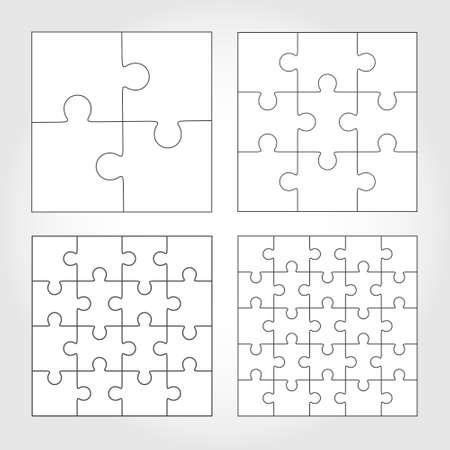 Jigsaw puzzle vector flat templates set