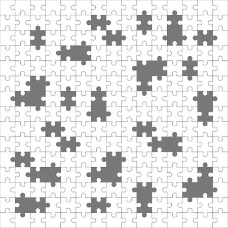 Jigsaw puzzle, blank simple template, 225 pieces with lost elements