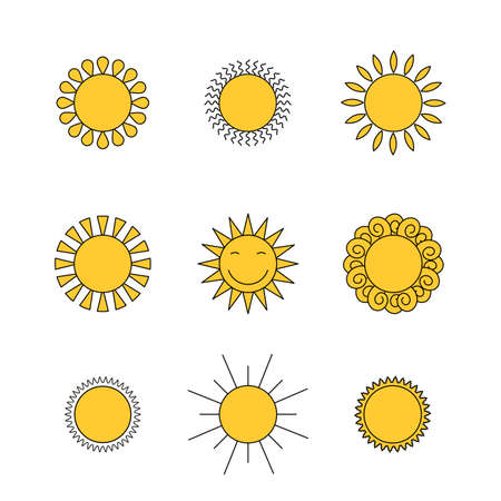 Colored suns icons vector set 일러스트