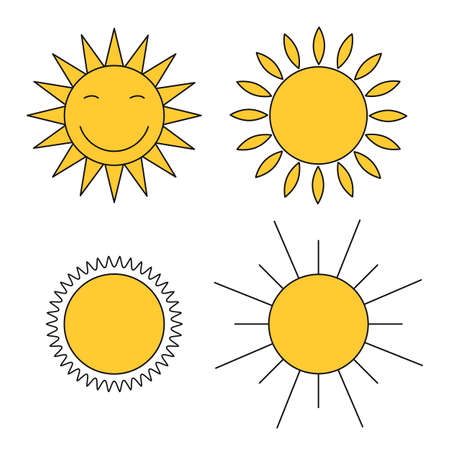 Colored suns icons vector set  イラスト・ベクター素材
