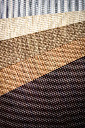 Various natural fabric samples background. Selective focus