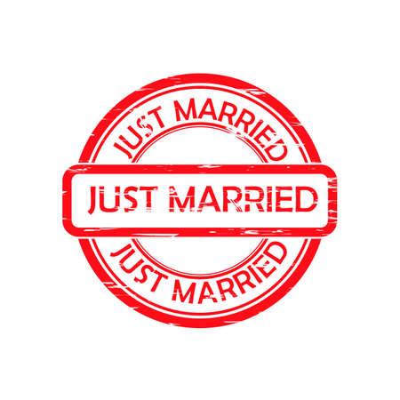 Just married red rubber stamp vector isolated on white background