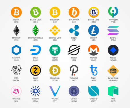 Cryptocurrency vector icons isolated on white background.