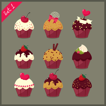 fairycake: Set of  cute cupcakes.