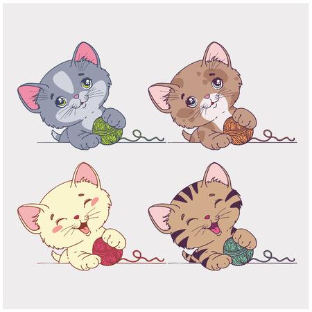 Gatos de dibujos animados conjunto de vectores Foto de archivo - 26041582