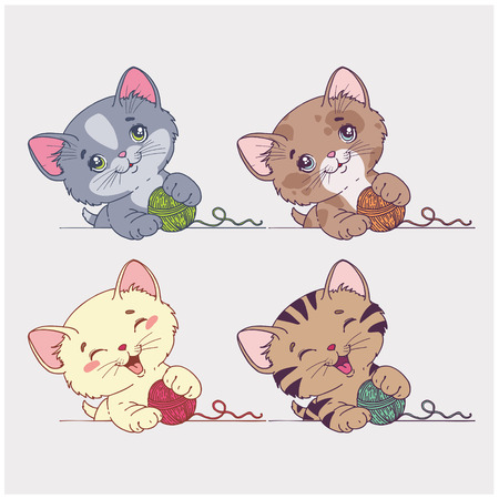 vector cartoon cats set Vector