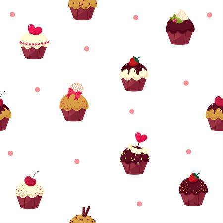 fairycake: seamless cartoon cake pattern