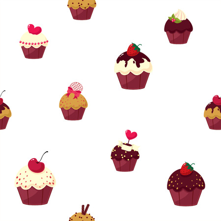 fairycake: seamless cartoon cake pattern