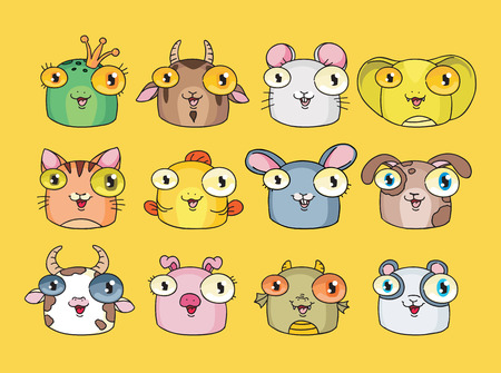 Vector illustration of cute animal set Vector