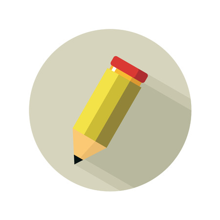 yellow pencil isolated on white tool office Vector