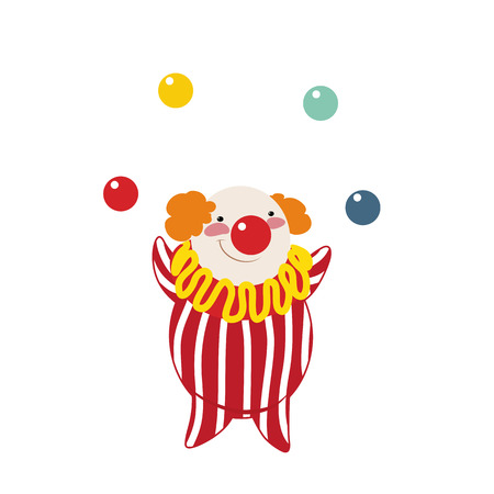 Funny clown on a white background, vector illustration