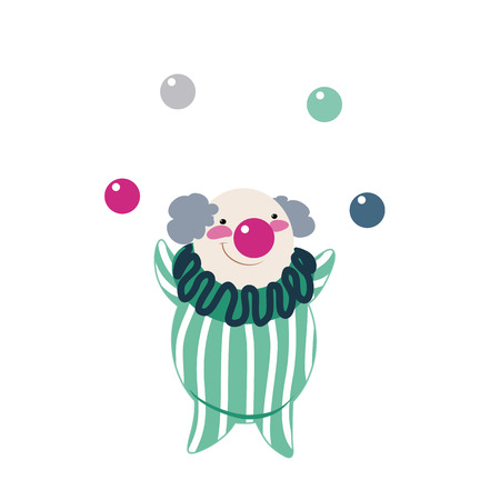 Funny clown on a white background, vector illustration Vector