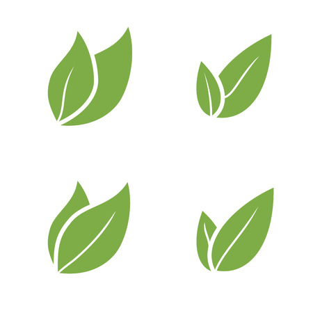 leaves green: Leaf Pair Icon Vector Illustrations on Both Solid  organic
