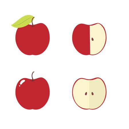 bitten: Manzana, base de manzana, mordido, iconos vectoriales medio aislados Vectores
