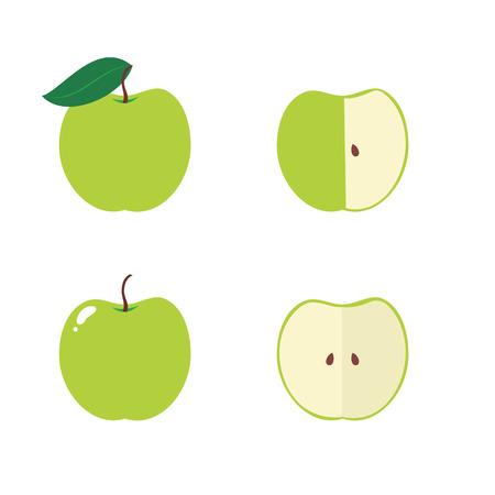 apple core: Apple, apple core, bitten, half vector icons isolated