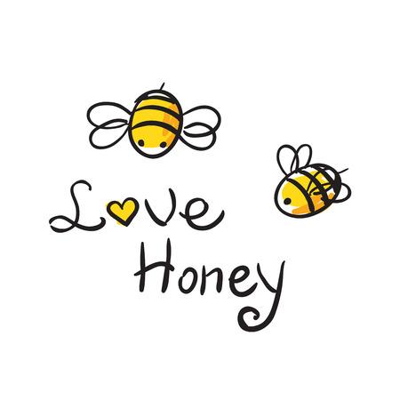 abeja caricatura: Amor de la abeja de la miel ilustración lindo cartun