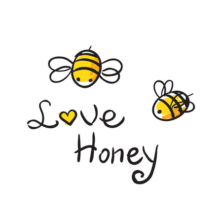 Bee Love honey  illustration  cute cartun Vector