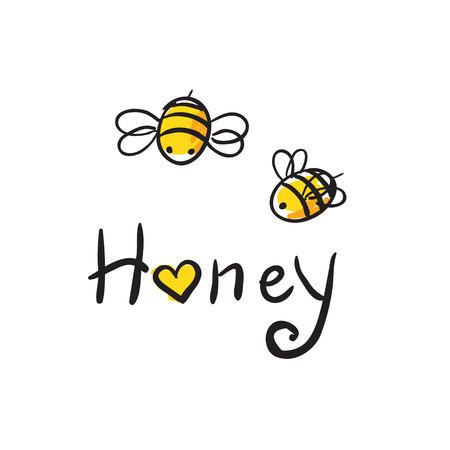 愛蜂蜂蜜イラストかわいい cartun  イラスト・ベクター素材