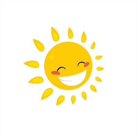 bright sun: cartoon sun icon set smile face symbol Illustration
