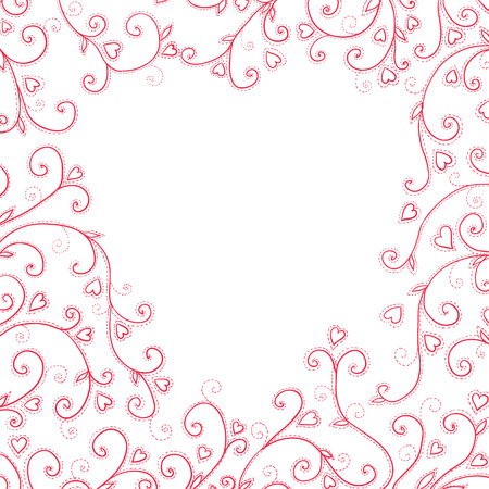 Vintage red background with hearts. Vector Illustration Vector