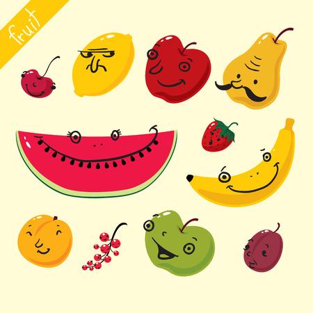 nectarine: Fruits. Vector set of fruits on white