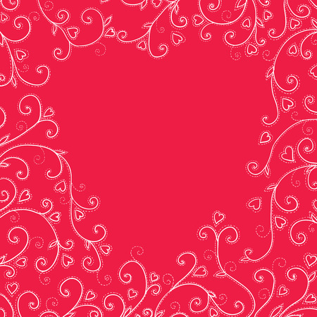 endearment: Vintage red background with hearts. Vector Illustration Illustration