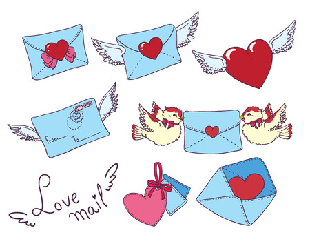 chatbox: Set vector e-mail, envelop icons with heart .For Valentine Day.