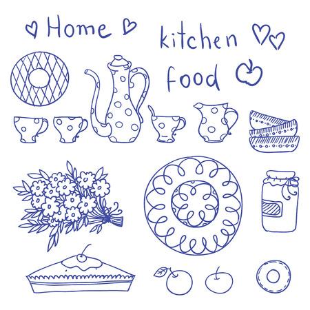 pepperbox: Vintage kitchen set in vector. Stylish design elements
