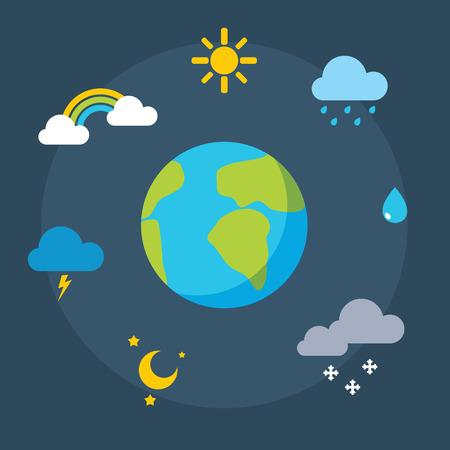 meteorology:  weather icons set , meteorology Illustration