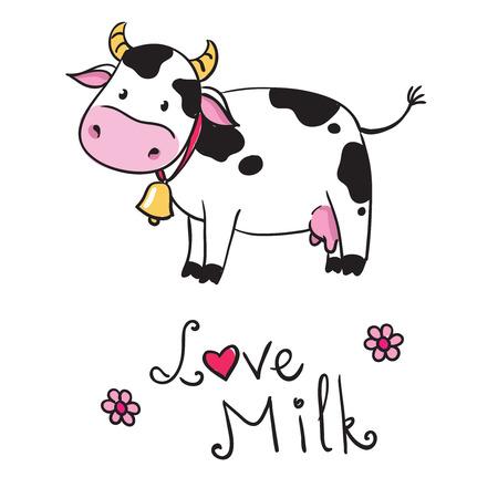 cow cartoon: cow. i love milk
