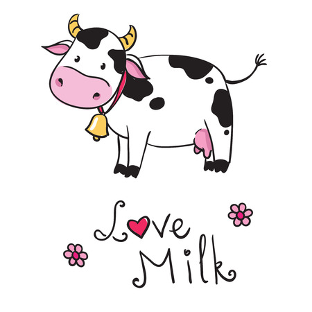caja de leche: vaca. me encanta la leche Vectores