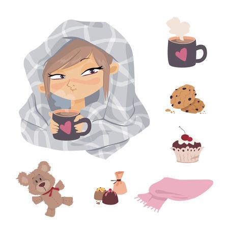 tonsils: Kid Illness icons Illustration