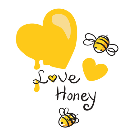 honey heart and Bee beautiful vector illustration