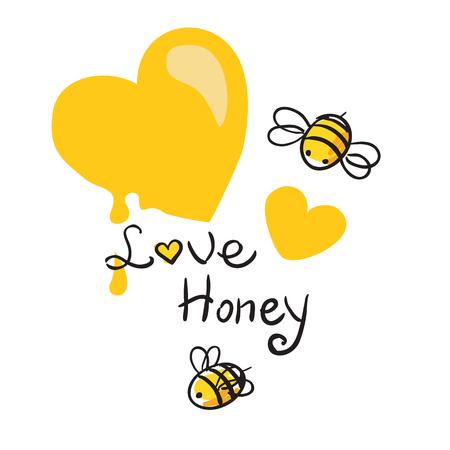 Honing hart en Bee mooie vector illustratie