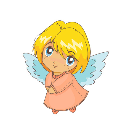 angel alone: Cute cartoon angel illustration, isolated on the white background