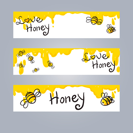 vector honey and Bee web banners set