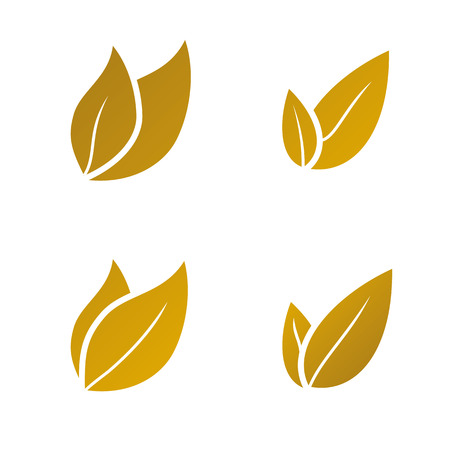 gold leaf: vector gold Leaf icon set on white background