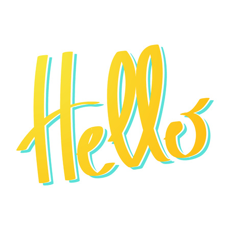 white bacground: yellow word Hello lettering on white bacground