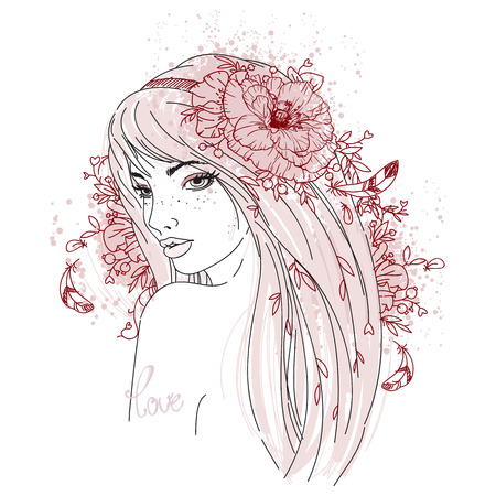 flower head: Young woman fashion vector illustration. Girl with beautiful poppy flower. Floral decor elements.