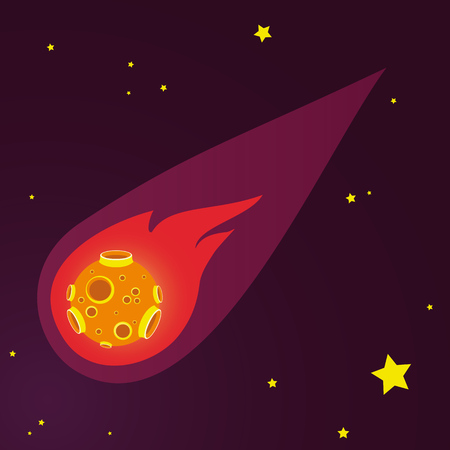 meteor: meteor vector illustration. space and stars backgroun